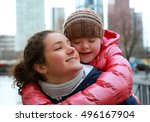 young girls having fun in the... | Shutterstock . vector #496167904