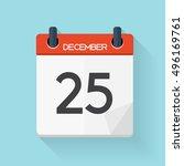 december 25 calendar flat daily ...   Shutterstock .eps vector #496169761