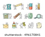 office supplies set with... | Shutterstock .eps vector #496170841