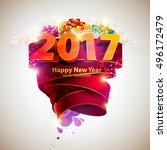 happy new year 2017 | Shutterstock .eps vector #496172479