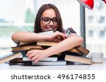 young woman student with many... | Shutterstock . vector #496174855