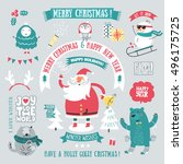 christmas greeting set. merry...   Shutterstock .eps vector #496175725