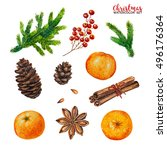 watercolor christmas set... | Shutterstock . vector #496176364