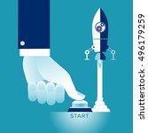 Start Up. Businessman pushing the start button. Concept business vector illustration | Shutterstock vector #496179259