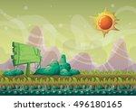 cartoon vector nature landscape ... | Shutterstock .eps vector #496180165