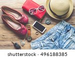 clothing for women  placed on a ... | Shutterstock . vector #496188385