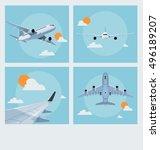 set of vintage flying poster...   Shutterstock .eps vector #496189207