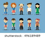 collection of cute cartoon boy... | Shutterstock .eps vector #496189489