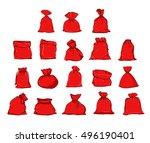 big set of bags santa claus ... | Shutterstock .eps vector #496190401