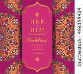 indian wedding invitation or... | Shutterstock .eps vector #496199434