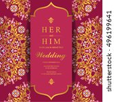 indian wedding invitation or... | Shutterstock .eps vector #496199641