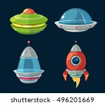 spaceship and spacecrafts... | Shutterstock .eps vector #496201669