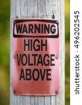 warning high voltage above sign ... | Shutterstock . vector #496202545