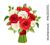 vector bouquet of red and white ... | Shutterstock .eps vector #496202551
