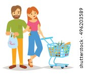 people with a trolley and... | Shutterstock .eps vector #496203589