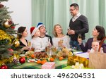family celebrating christmas... | Shutterstock . vector #496204531