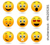 set of emoticons. smile icons.... | Shutterstock .eps vector #496205281