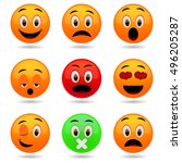 set of emoticons. smile icons.... | Shutterstock .eps vector #496205287