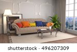interior with sofa. 3d... | Shutterstock . vector #496207309