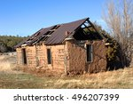 old adobe building is crumbling ...   Shutterstock . vector #496207399