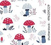 vector seamless floral mushroom ... | Shutterstock .eps vector #496209229