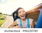 Cheerful Young Woman With Brow...