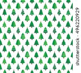 christmas tree pattern white... | Shutterstock .eps vector #496220929