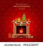 christmas fireplace room... | Shutterstock .eps vector #496226047