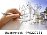 hand drafting a design villa... | Shutterstock . vector #496227151