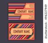 business card template with 3d... | Shutterstock .eps vector #496227949