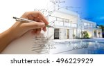 hand drafting a design villa... | Shutterstock . vector #496229929