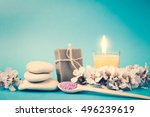 spa bath cosmetic and flower... | Shutterstock . vector #496239619