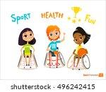 handisport. handicapped kids... | Shutterstock .eps vector #496242415