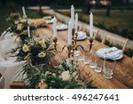 the composition of flowers and... | Shutterstock . vector #496247641