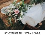 the composition of flowers and... | Shutterstock . vector #496247665