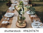 the composition of flowers and... | Shutterstock . vector #496247674