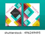 set of front and back a4 size... | Shutterstock .eps vector #496249495
