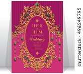indian wedding invitation or... | Shutterstock .eps vector #496249795