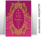 indian wedding invitation or...   Shutterstock .eps vector #496249795