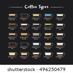 a set of coffee types icons in... | Shutterstock .eps vector #496250479