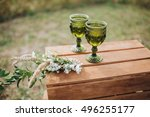 glasses of bride and groom are... | Shutterstock . vector #496255177