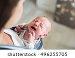 unrecognizable young mother... | Shutterstock . vector #496255705