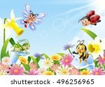 cartoon insects on flower field | Shutterstock .eps vector #496256965
