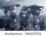 network and world map on blur... | Shutterstock . vector #496259701