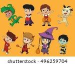 happy halloween. set of cute... | Shutterstock .eps vector #496259704