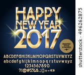 vector gloss happy new year... | Shutterstock .eps vector #496262875