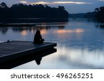 alone women relax on wooden... | Shutterstock . vector #496265251