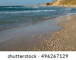 seashells lie on the sandy... | Shutterstock . vector #496267129