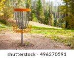 disc golf  frolf  basket on a... | Shutterstock . vector #496270591