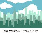 city skyline illustration.... | Shutterstock . vector #496277449